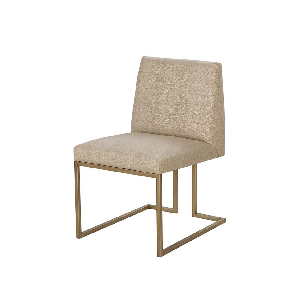 McGregor Dining Chair - Tan and Brass