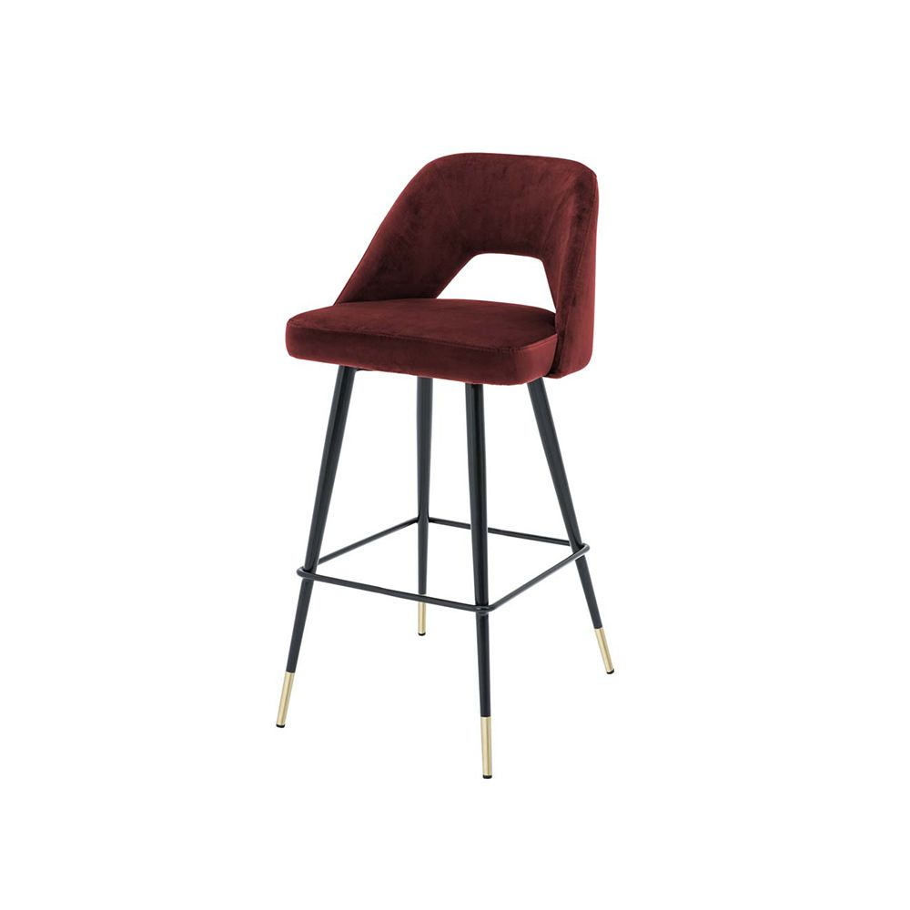 Bradford Velvet Bar Stool - Red