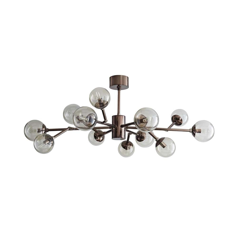 Dallas 12-Light Chandelier - Brown Nickel and Smoked Glass