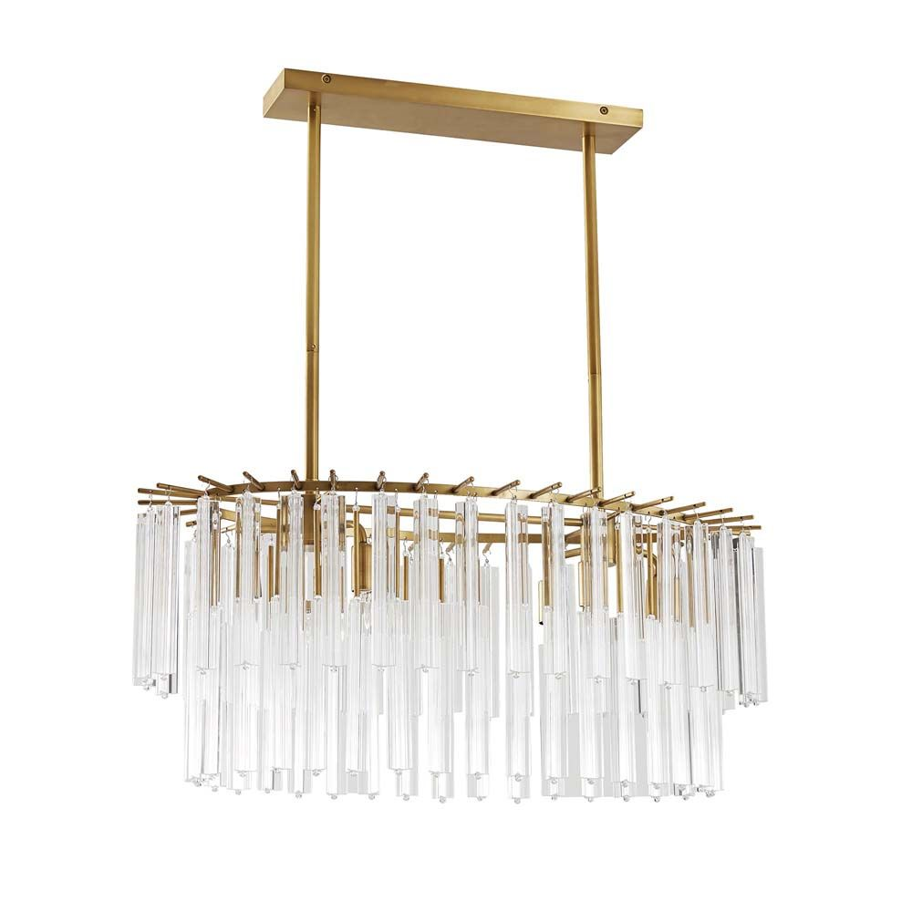 Birdwell Linear Chandelier - Antique Brass, Small
