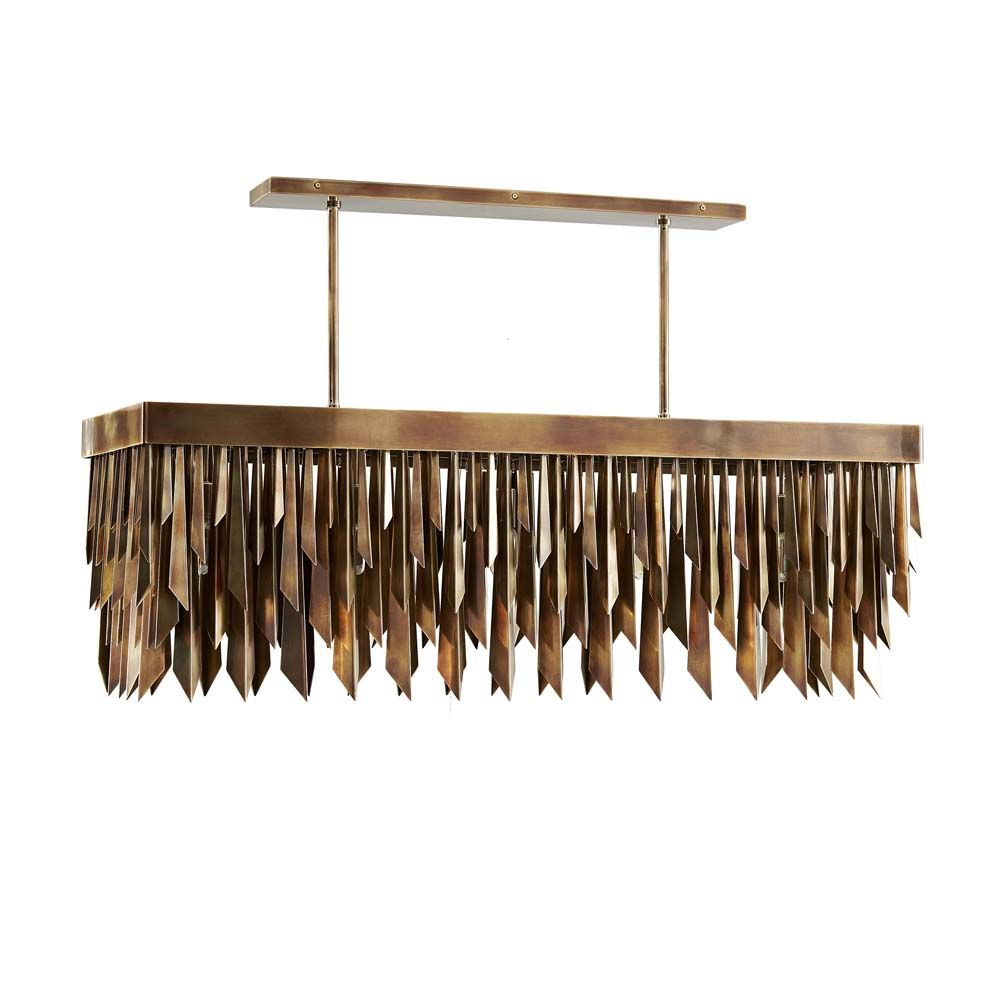 Leona Linear Chandelier - Dark Antique Brass