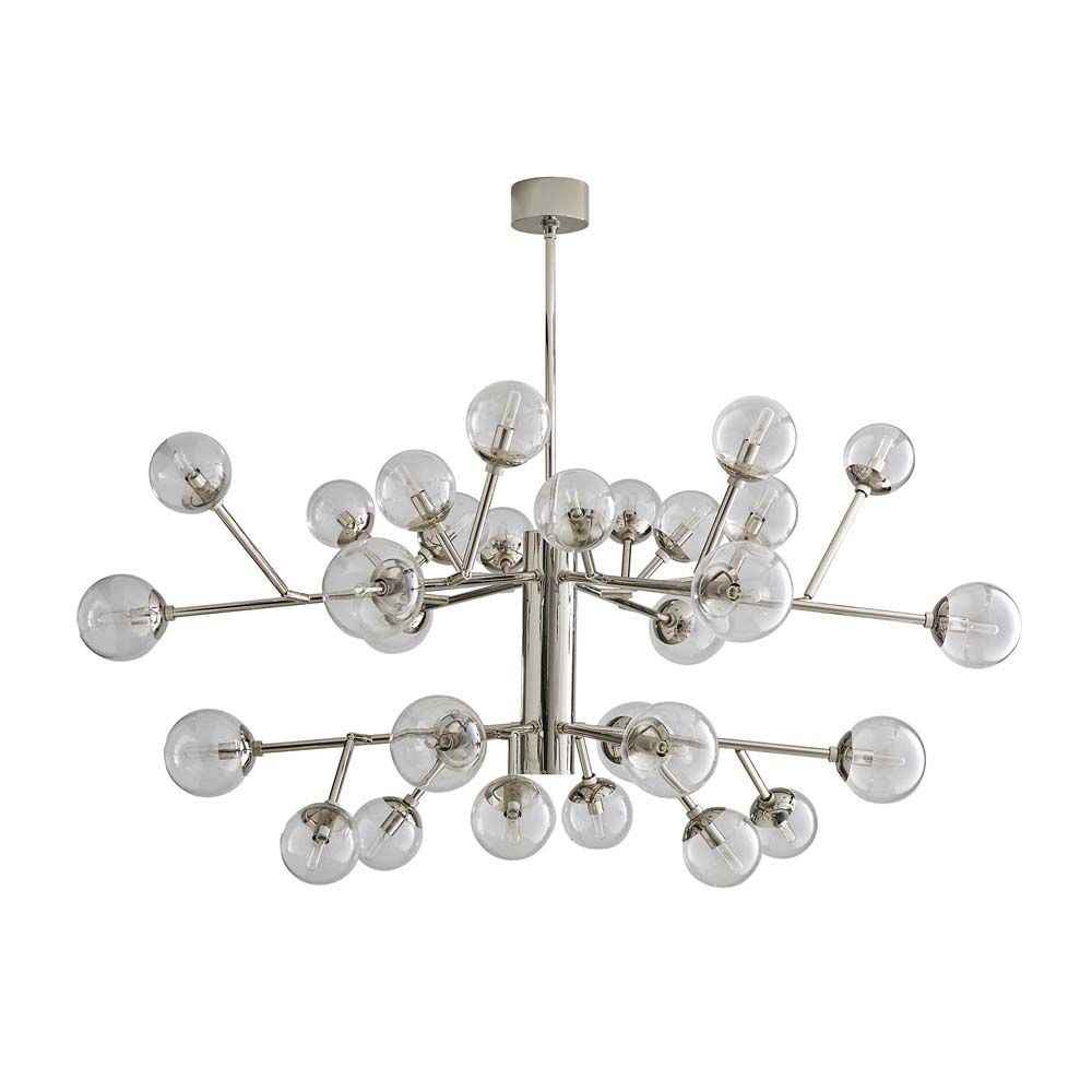 Dallas Two-Tier Chandelier - Polished Nickel and Clear Glass