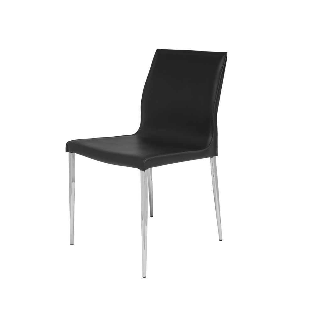 Albion Leather Dining Chair - Black
