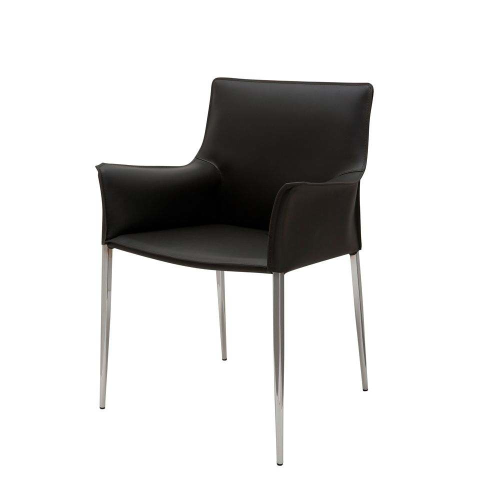 Albion Leather Dining Armchair - Black