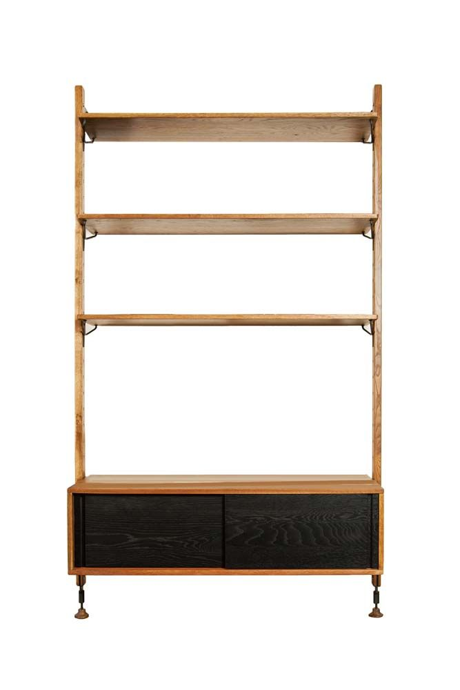 Beayer Modular Wall Unit with Cabinet - Fumed Oak
