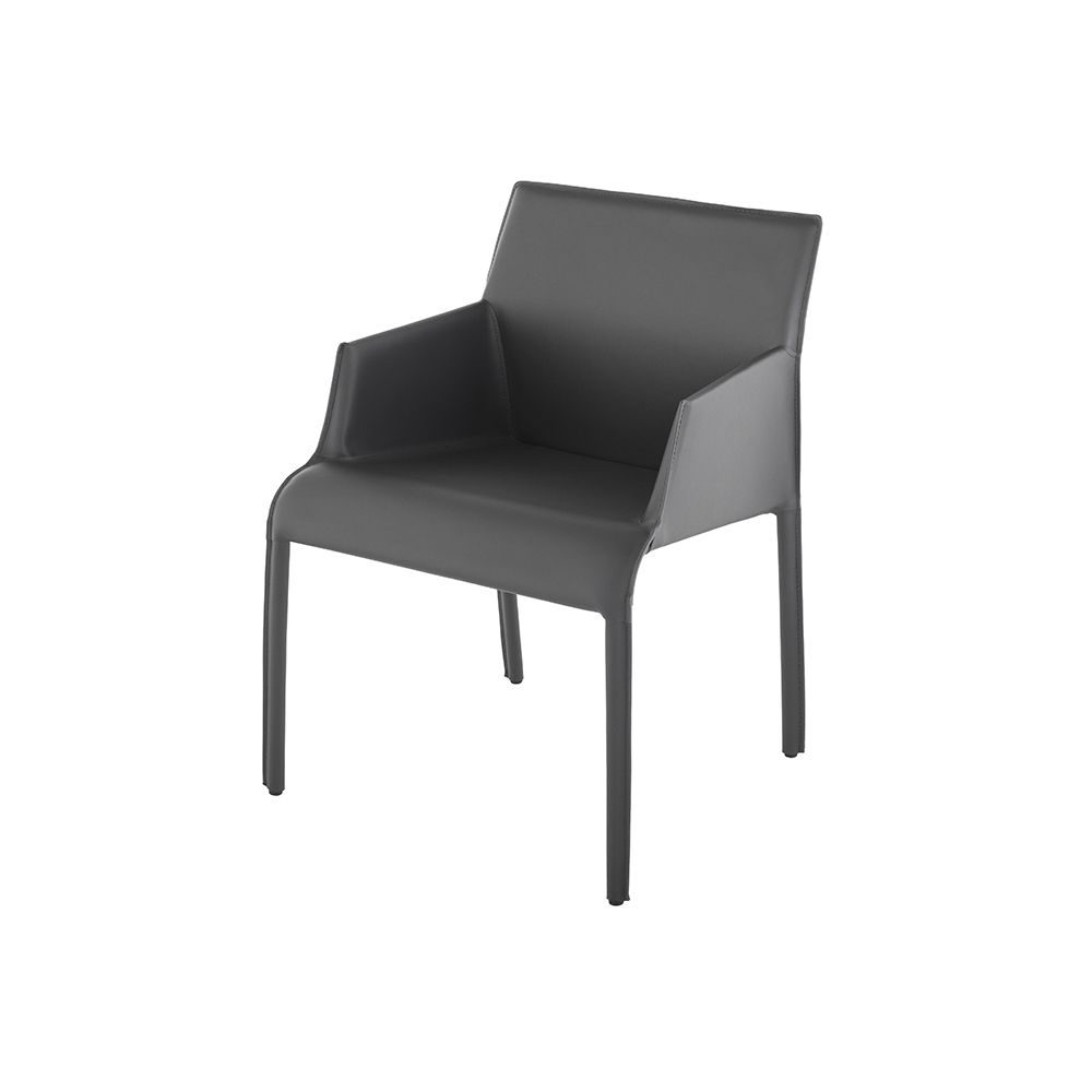 Minetta Leather Dining Armchair - Dark Grey