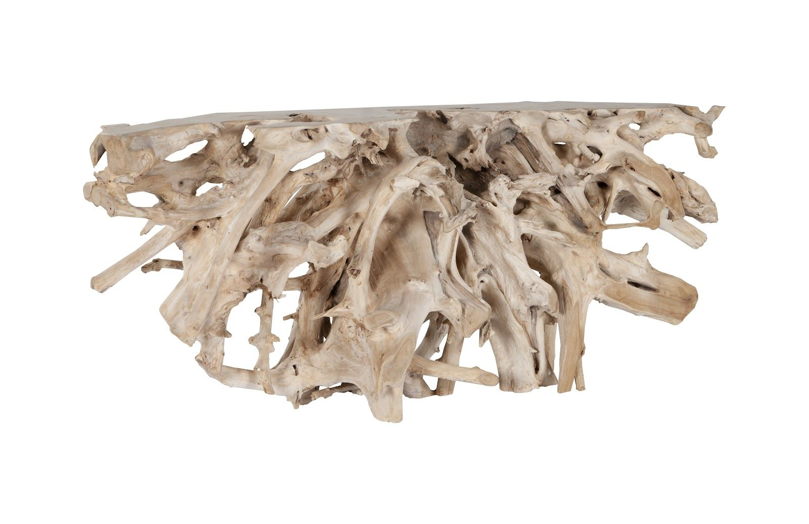 """Teak Root Console Table, 98"""" - Bleached"""