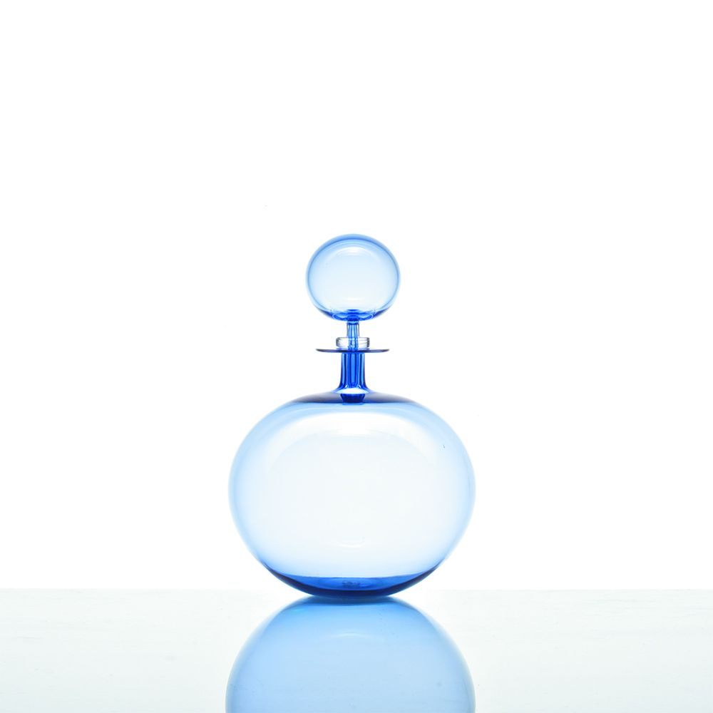Low Round Petite Decanter - Ice Blue