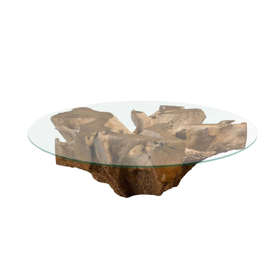 "Teak Root Round Coffee Table, 48"""